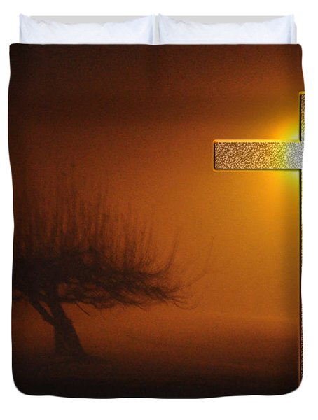 Duvet Cover featuring the photograph My Life In God's Hands 3 To 4 Ration by Clayton Bruster