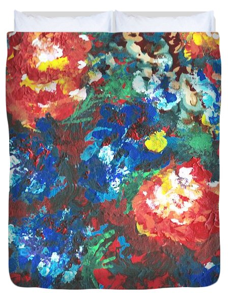 Duvet Cover featuring the painting My Sister's Garden II by Alys Caviness-Gober