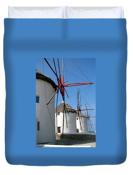 Duvet Cover featuring the photograph Mykonos Windmills by Carla Parris