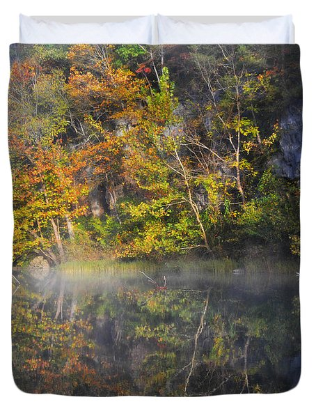 Mysty Morn On The Current Duvet Cover by Marty Koch