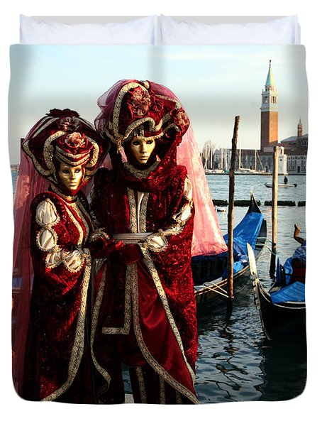 Duvet Cover featuring the photograph Nadine And Daniel Across San Giorgio by Donna Corless