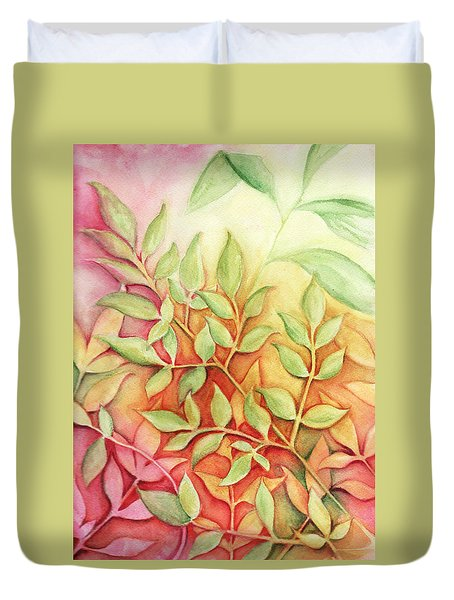 Duvet Cover featuring the painting Nandina Leaves by Carla Parris