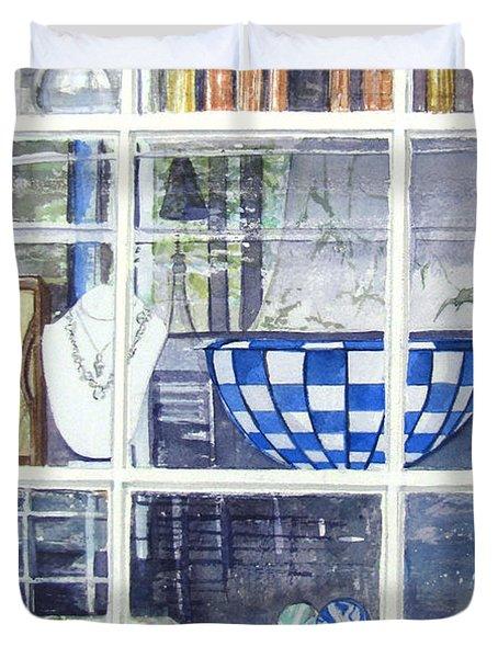 Duvet Cover featuring the painting Nantucket Shop-lecherche Midi by Carol Flagg