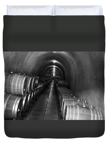 Napa Wine Barrels In Cellar Duvet Cover