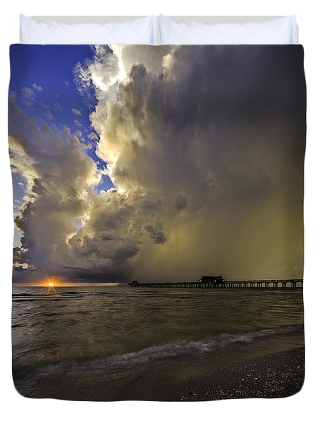 Naples Pier Storm Sunset Duvet Cover
