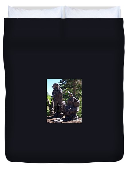 Duvet Cover featuring the photograph Native American Statue by Chalet Roome-Rigdon