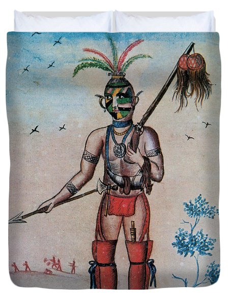 Native American With Scalps Mid-18th C Duvet Cover by Photo Researchers