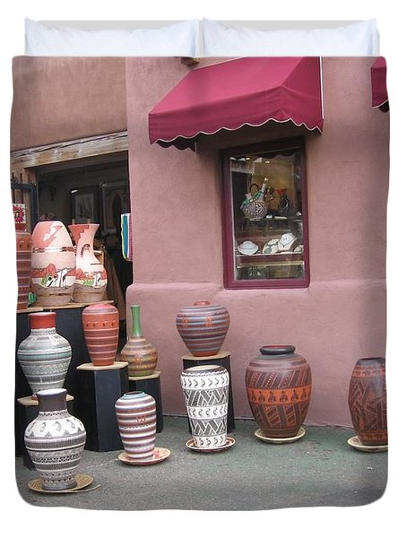 Duvet Cover featuring the photograph Native Jars And Vases Market by Dora Sofia Caputo Photographic Art and Design