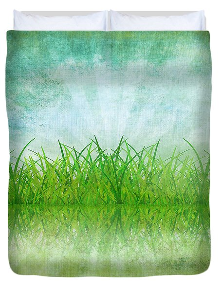 Nature And Grass On Paper Duvet Cover by Setsiri Silapasuwanchai