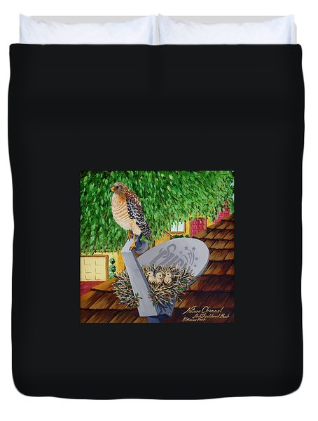 Nature Channel- Red Shouldered Hawk Duvet Cover by Katherine Young-Beck
