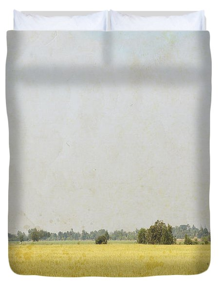Nature Painting On Old Grunge Paper Duvet Cover by Setsiri Silapasuwanchai