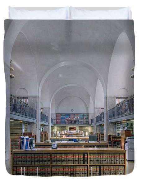Duvet Cover featuring the photograph Nebraska State Capitol Library by Art Whitton