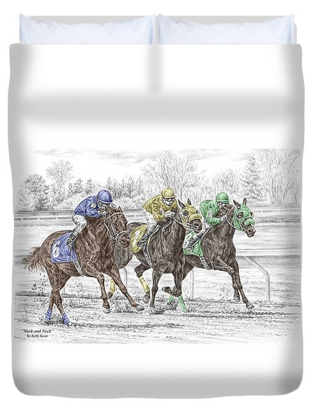 Neck And Neck - Horse Race Print Color Tinted Duvet Cover by Kelli Swan