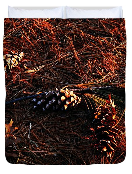 Needles Cones And Oak Leaf Duvet Cover by Larry Ricker