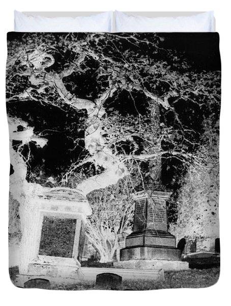 Negative Image Of Cemetary Duvet Cover by JSM Fine Arts John Malone