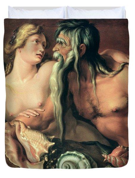 Neptune And Amphitrite Duvet Cover by Jacob II de Gheyn
