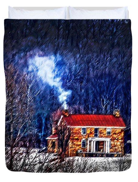 Nestled In For The Winter Duvet Cover by Randall Branham