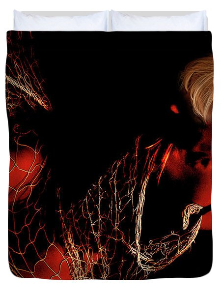 Duvet Cover featuring the photograph Netted A Red by Clayton Bruster