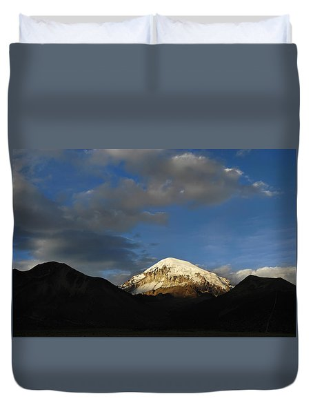 Nevado Sajama At Sunset. Republic Of Bolivia.  Duvet Cover by Eric Bauer