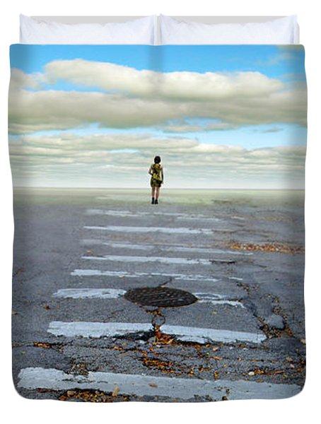 Never Ending Crosswalk Duvet Cover by Jill Battaglia