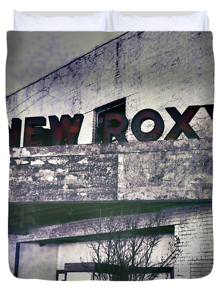 Duvet Cover featuring the photograph New Roxy Clarksdale Ms by Lizi Beard-Ward