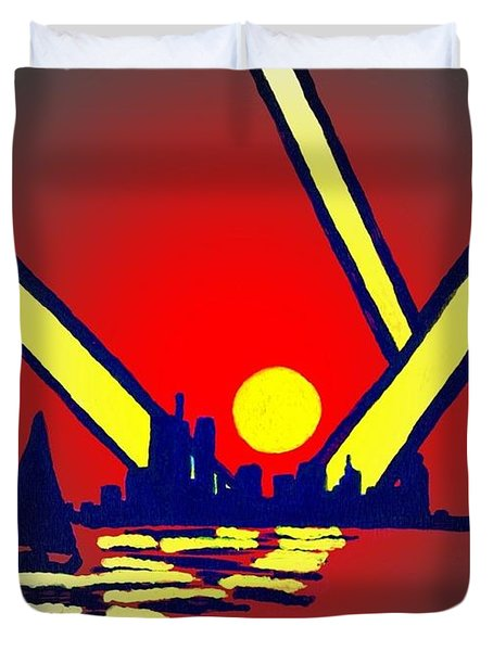 New York At Night Duvet Cover by Connie Valasco