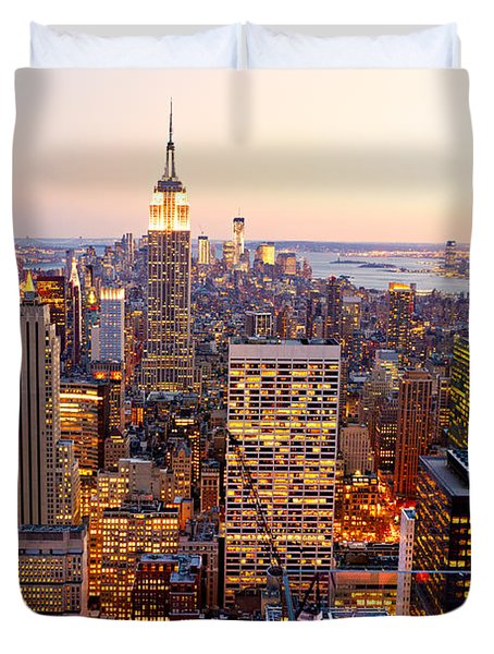Duvet Cover featuring the photograph New York City by Luciano Mortula