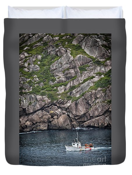 Newfoundland Fishing Boat Duvet Cover by Verena Matthew