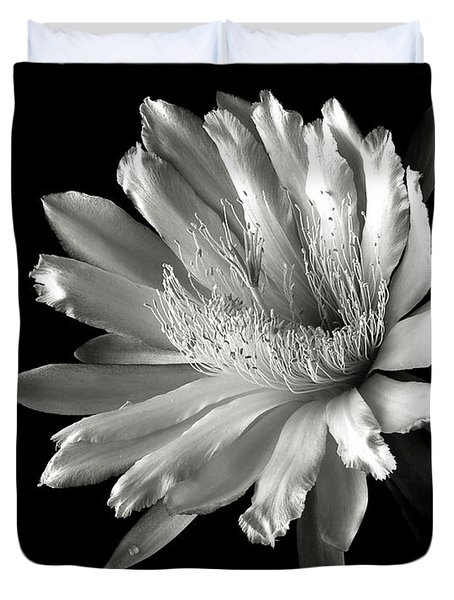 Night Blooming Cereus In Black And White Duvet Cover