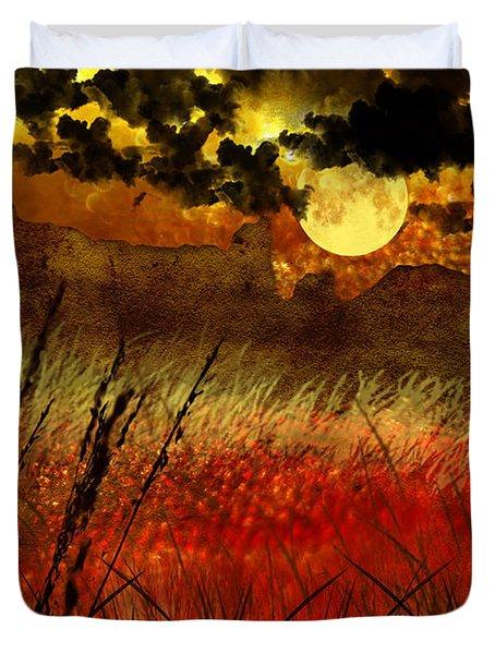 Night Falls Over The Land Duvet Cover by Ellen Heaverlo