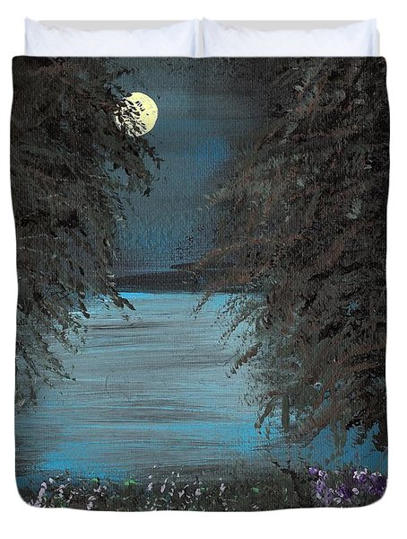 Duvet Cover featuring the painting Night In The Bayou by Alys Caviness-Gober