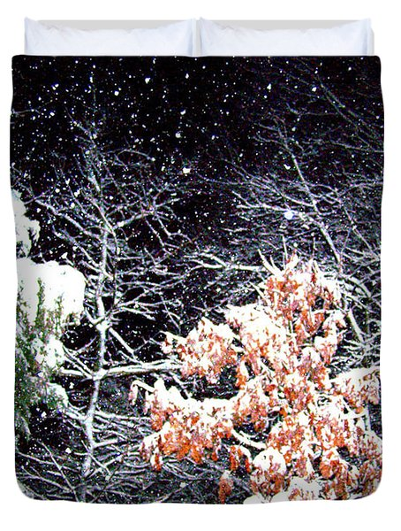 Night Snow 2 Duvet Cover by Sandi OReilly
