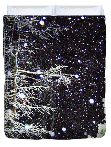 Night Snow Duvet Cover by Sandi OReilly