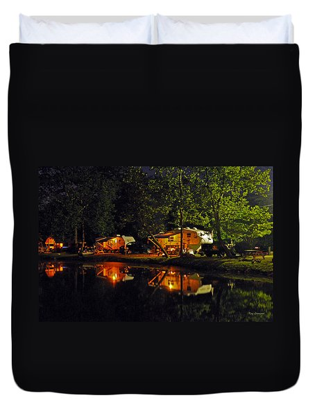 Nighttime In The Campground Duvet Cover by Kay Lovingood
