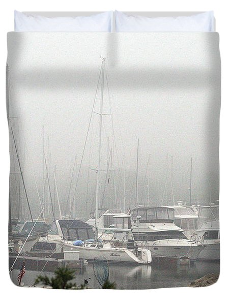 Duvet Cover featuring the photograph No Sailing Today by Kay Novy