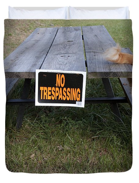 Duvet Cover featuring the photograph No Trespassing by Jeannette Hunt