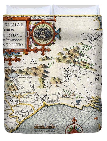 North Carolina Duvet Cover by Jodocus Hondius