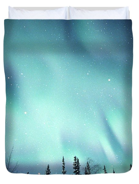 Northern Lights Over Snow Covered Duvet Cover by Robert Postma