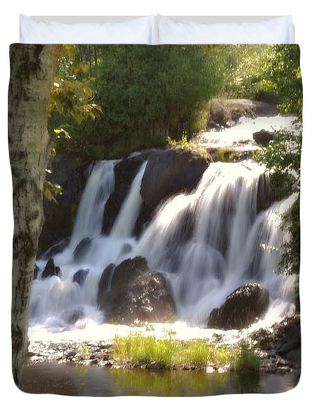 Northwoods Falls Duvet Cover by Marty Koch