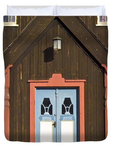Norwegian Wooden Facade Duvet Cover by Heiko Koehrer-Wagner