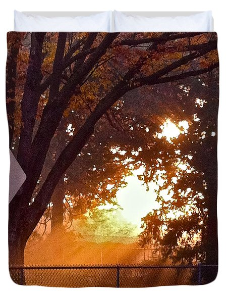 Duvet Cover featuring the photograph November Sunrise by Bill Owen