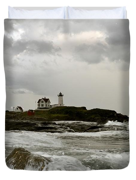 Nubble Lighthouse In The Thick Duvet Cover by Rick Frost
