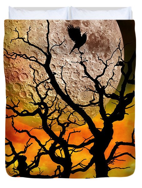 Nuclear Moonrise Duvet Cover by Meirion Matthias
