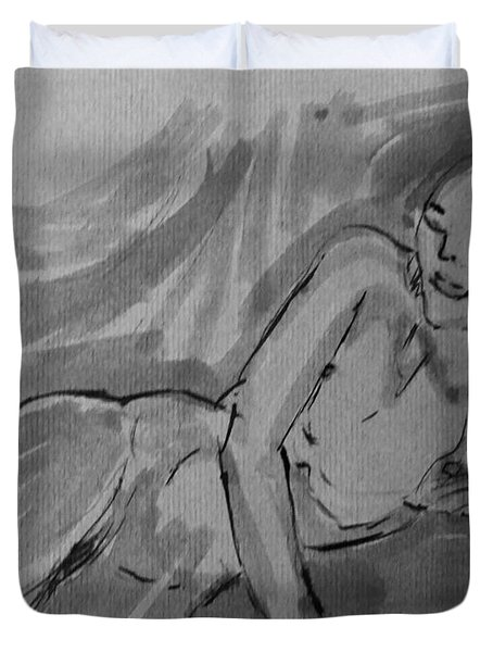 Duvet Cover featuring the painting Nude Acrylic Watercolor Of Young Female Figure Reclining On Couch In Monochromatic And Black White by M Zimmerman