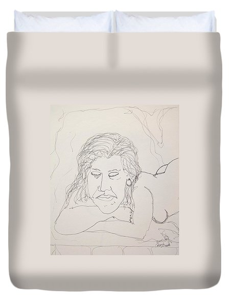 Nude Contour In Ink Duvet Cover