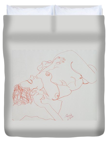 Nude Resting In Red Duvet Cover by Rand Swift