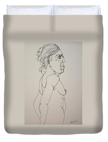 Nude Girl In Contour Duvet Cover by Rand Swift