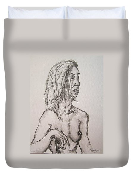 Nude In Washed Graphite Duvet Cover by Rand Swift