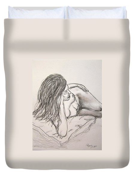 Nude On Pillow Duvet Cover by Rand Swift