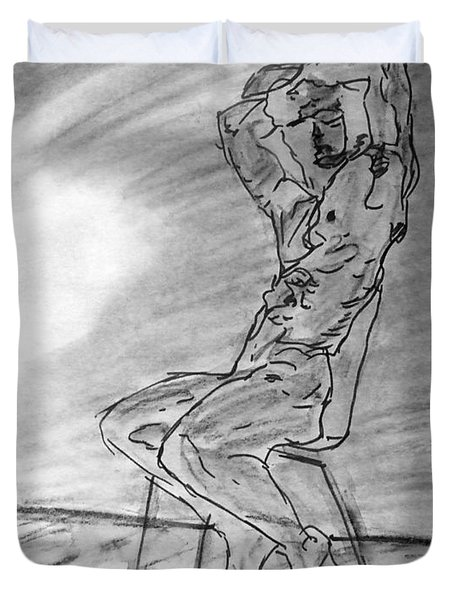 Duvet Cover featuring the painting Nude Male Seated On Chair By Wall In Watercolor Sketch Painting With Arms Raised Looking Outward by M Zimmerman